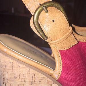Nine West Shoes - Nine West cork heel open-toed wedge red size 6 1/2